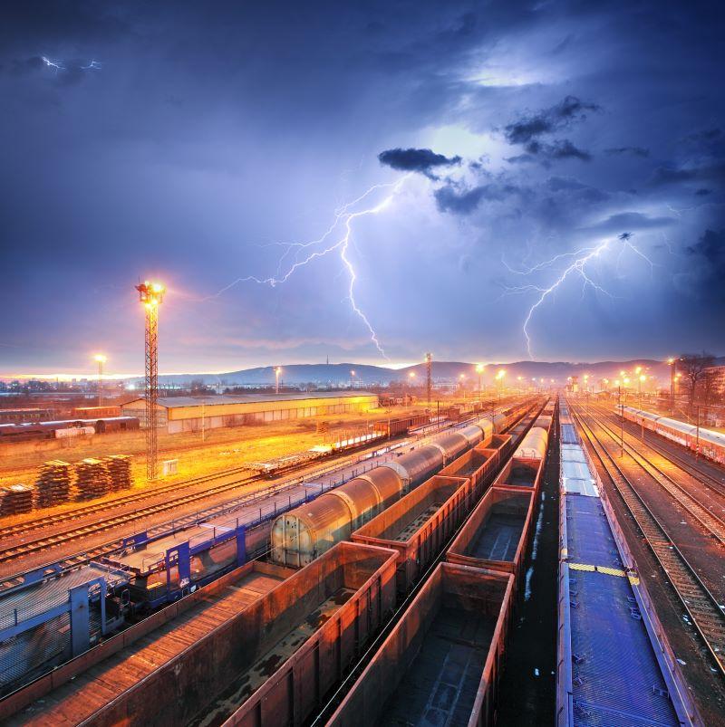 Train Freight Transportation At Storm - Cargo Transit